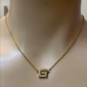 Givenchy Gold Crystal Diamond MonoGram G Necklace